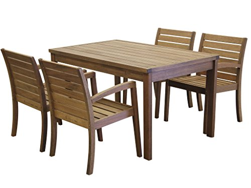 Timbo Vila Rica Hardwood Outdoor 4 Seat Patio Dining Set with Rectangular Table & 4 Chairs with Arms, Dining Set, Brown