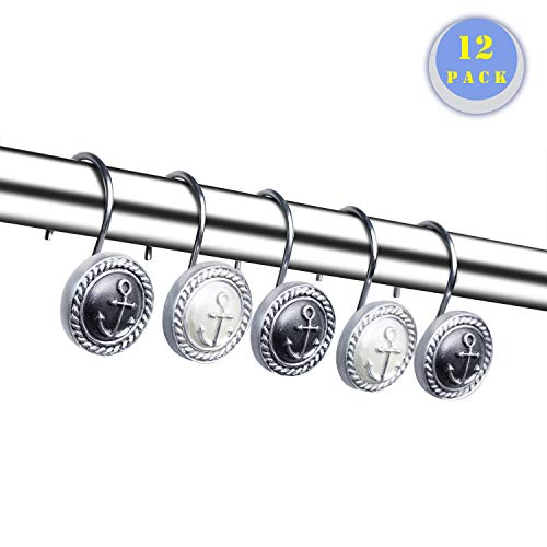 Decorative Shower Curtain Hooks Rings Rustproof Nautical Style Hooks Rings for Bathroom Curtain Rods Liners Decor,Set of 12 -