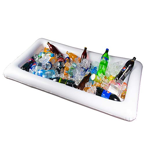 Inflatable Cooler Table For Party - Cold Buffet Server Table Food Coolers Inflatable Ice Serving Tray Floating Buffet Picnic Pool Table Serving Tray Food Drink Holder Containers For Indoor Outdoor (Coolers Table)