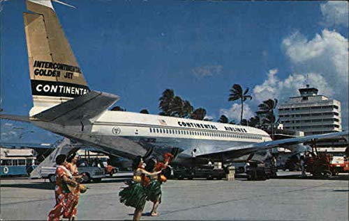 New Intercontinental Golden Fan Jet Honolulu, Hawaii HI Original Vintage Postcard