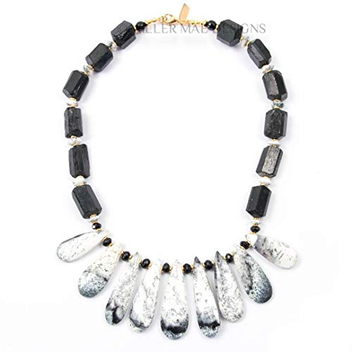 Dendritic Opal Drop Necklace with Large Black Tourmaline Nuggets and Onyx & Dendritic Opal Accents - 17 Inches Long Handmade Statement Necklace by Miller Mae Designs