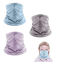 Travel Junkie 41T1uVBfsPL._SS247_ FCNEHLM 3 Pcs Kids Neck Gaiters, Summer Face Gaiter for Kids, Face Cover Bandana for Boys Girls Outdoor