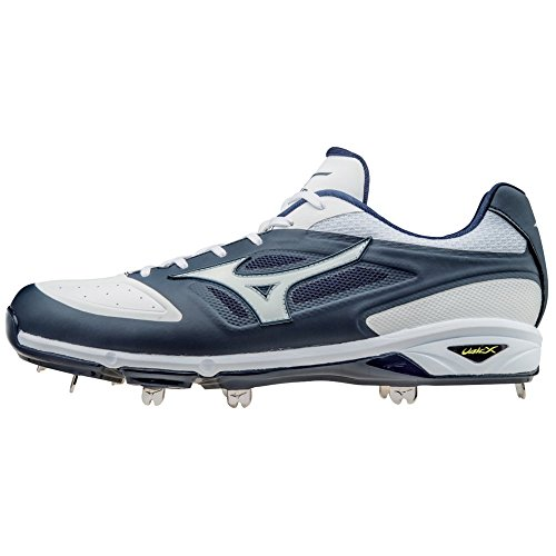 Mizuno Dominant IC Adult Men's Low Cut Metal Baseball Cleats - Navy & White (Men's Size 11)
