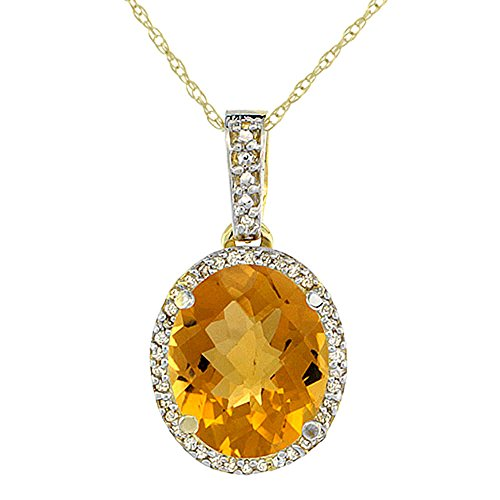 Or jaune 9Ct naturel à whisky Quartz Pendentif Ovale 11x 9mm et Accents de diamant