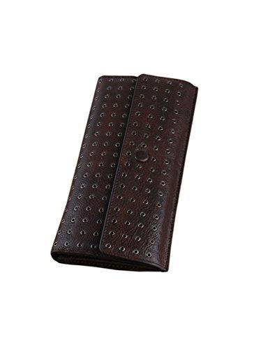 Menschwear Women Ladies Cow Leather Clutch Wallets Card Holder Long Purse Brown by Menschwear