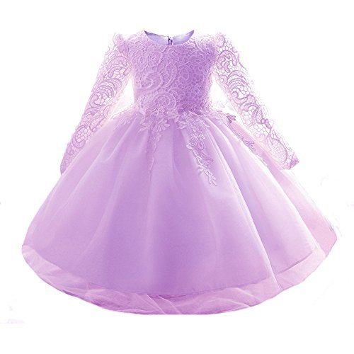 Party Wear Dresses - Myosotis510 Girls' Lace Princess Wedding Baptism Dress Long Sleeve Formal Party Wear for Toddler Baby Girl, Purple, 7-12 Months(Tag 80)