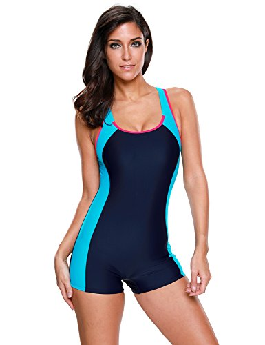 LookbookStore Womens Colorblock Racerback Swimsuit