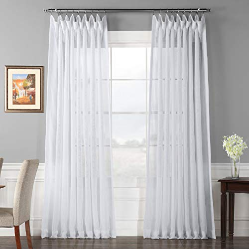 Half Price Drapes SHCH-VOL1-120-DLDW Signature Double Layered Wide Sheer Curtain, 100 , White