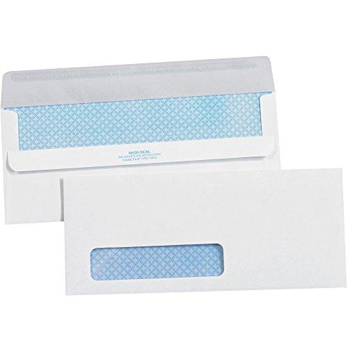 parte superior Pack Supply Redi-Seal sobres de negocios con tinte de seguridad, ventana #10, 4 1/8' x 9 1/2', color blanco,...