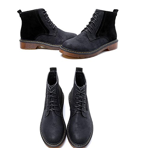 BLACK with thick with female 's British shoes boots leather boots NSXZ Women Martin boots wind 120W x6wqfnFnU