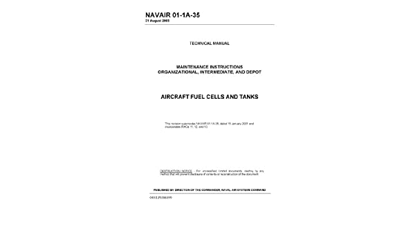Navair 01 1a 35 Aircraft Fuel Cells And Tanks Maintenance