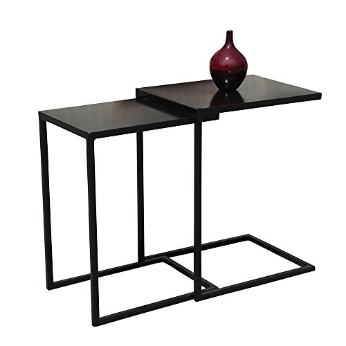 - OC Orange-Casual Patio Side End Table Nesting Coffee Accent Table with Metal Frame Set of 2, Black