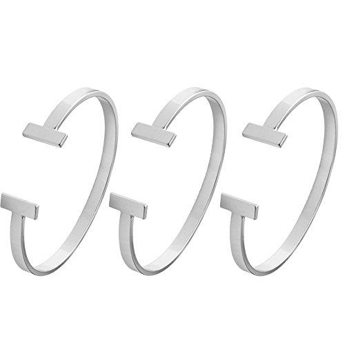 (SENFAI Simple Double T Cuff Bracelet/Jewelry Set for Women (3 pcs Set Thin Bracelet, Rhodium-Plated-Brass))