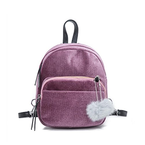 IEason bag, Mini Fur Ball Backpack Fashion Shoulder Bag Solid Women Girls Travel School Bags (Pink) by IEason-Bag