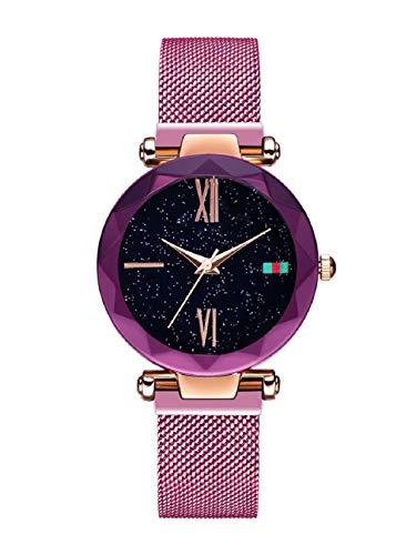 Women Watches, L'ananas Starry Sky Dial Diamond Cutting Mesh Straps Bracelet Wristwatch (Purple-B) from L'ananas-Watches