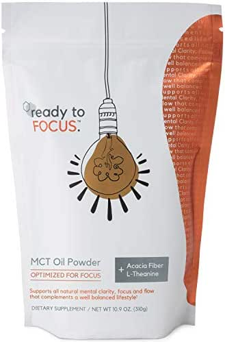 ready to FOCUS - Premium MCT Oil Focus Supplement Optimized for Mental Clarity and Focus (with L theanine) and Prebiotic Acacia Fiber - Perfect as a Keto Coffee Creamer or Caffeine Free Brain Boost
