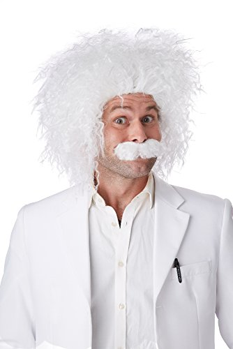 California Costumes Men's E=Mc2 Wig and Moustache Set Einstein Genius Scientist, White, One Size -