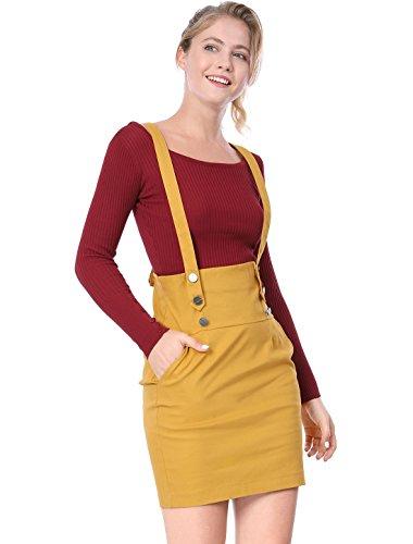 Allegra K Women's Back to School High Waist Straight Braces Suspender Skirt Yellow S (US (Back To School School)