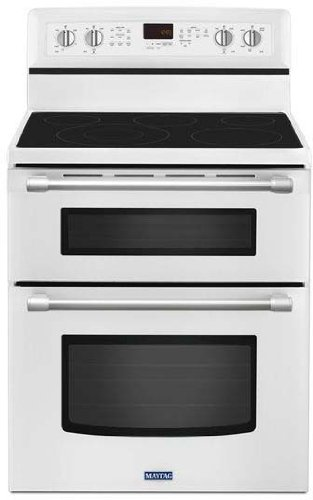 """Maytag MET8720DH Gemini 30"""" White Electric Smoothtop Doub..."""