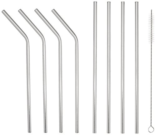 able Straws (set of 8), Bent and Straight Washable, Eco Friendly, Nontoxic Juice Straws Perfect for a Cocktail, Latte, Iced Tea, Moscow Mule, or Smoothie, Yeti Compatible ()