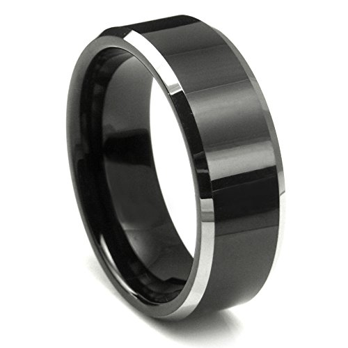 Tungsten Metal Men's Ladies Unisex Ring Wedding Band 8MM (5/16 inch) Flat Top Two Tone Black Beveled Edge Comfort Fit Sz 8.0