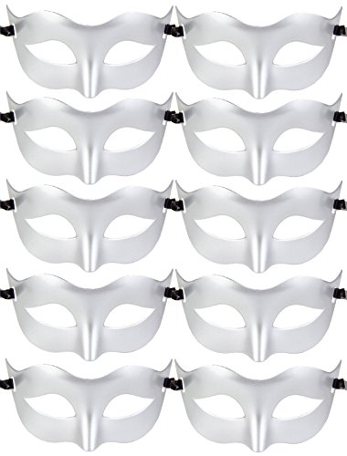 10pcs Set Mardi Gras Half Masquerades Venetian Masks Costumes Party Accessory (Set A-Silver)
