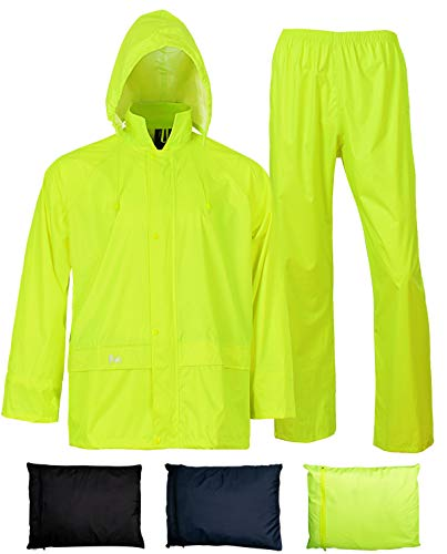 Rain Jacket with Pants for Men Women Waterproof Rain Coat 3-Pieces Ultra-Lite Suits (X-Large, Fluorescence)