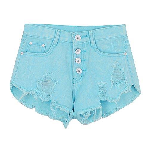 Jeans Pantalon Plage Courts Hot Femmes t Pantalons Lac Mini Dchir laamei de Trou Taille Shorts Bleu Haute Denim SFx4UEwq