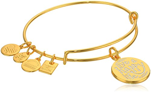 Alex and Ani Charity By Design, Live a Happy Life Shiny Gold Bangle Bracelet (Foundation Life)