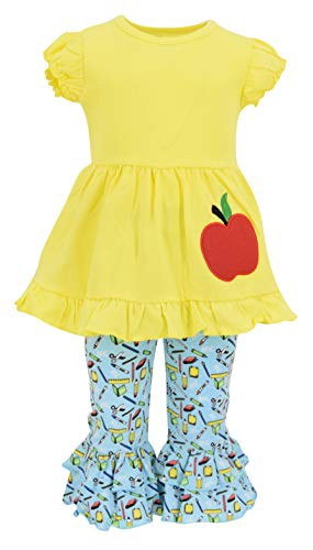 Unique Baby Girls Back to School Apple Embroidered 2 Piece Outfit (4t) Yellow (Best Outfits For Back To School)