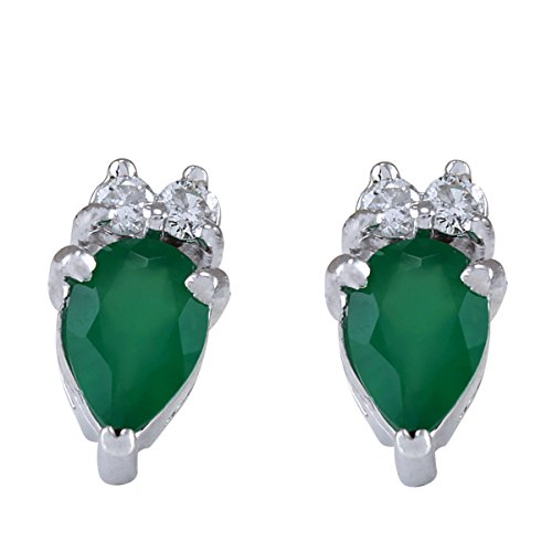 (1.19 Carat Natural Green Emerald and Diamond (F-G Color, VS1-VS2 Clarity) 14K White Gold Stud Earrings for Women Exclusively Handcrafted in USA )
