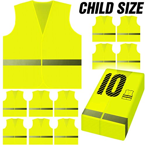 PeerBasics, 10 Pack Child 360 Degree Safety Vest, Reflective High Visibility Silver Strip, Boys & Girls, Work, Cycling, Runner, Crossing Guard, Road, for Kids (School Bus Neon Yellow Knitted, -