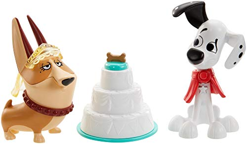 101 Dalmatian Street GBM40 Disney Party 2-Pack, Dylan & Clarissa Dog Figures (3-in) with Wedding Cake, Cape, and Veil Accessories, Multicoloured
