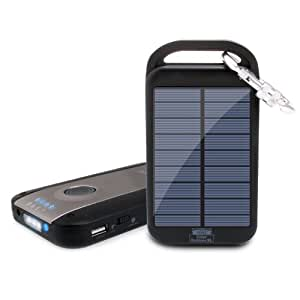 Solar Charger & 4000mAh Power Bank (Black) with 2.1A USB Charging Port , Carabiner Clip by ReVIVE - Works with Apple , Samsung , HTC & More Smartphones & Rechargeable Devices!