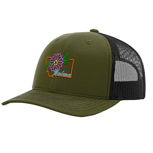 Speedy Pros Montana State Flower Embroidery Richardson Structured Front Mesh Back Cap Hat - Loden/Black