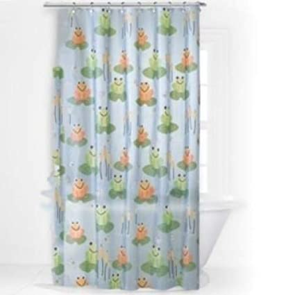 Frogger Vinyl Shower Curtain Frogs On Lily Pads