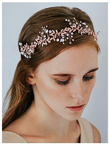 SWEETV Crystal Wedding Headband Rose Gold Bridal Headpiece for Brides Pearl Hair Vine Rhinestone Hair Accessories for Women