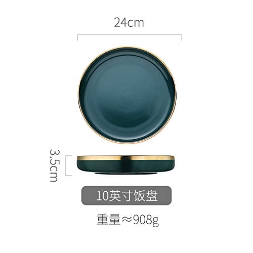 Nordic creative dish plate home personality small fresh and beautiful bowl girl heart tableware 10 inch rice plate 24x3.5cm