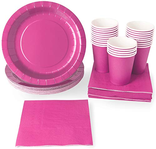 Pink Party Supplies - 24-Set Paper Tableware - Disposable Dinnerware set for 24 Guests, Including Paper Plates, Napkins and Cups, Neon -