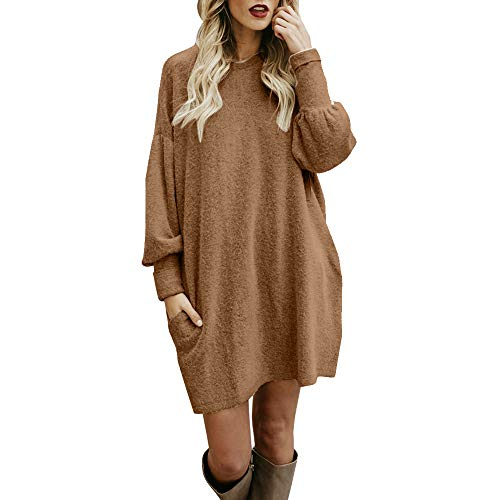 (Sherostore ♡ Sweater for Women, Solid Long Sleeve Casual Tunic Dress Crew Neck Loose Pullover Blouse with Pocket Khaki)