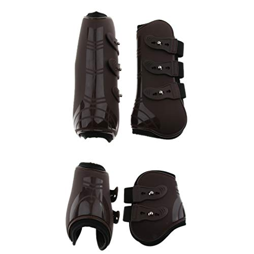 CUTICATE 2 Pairs Open Front Horse Exercise Jumping Boots, Tendon and Fetlock Leg Support Boots for Training, Riding, Eventing