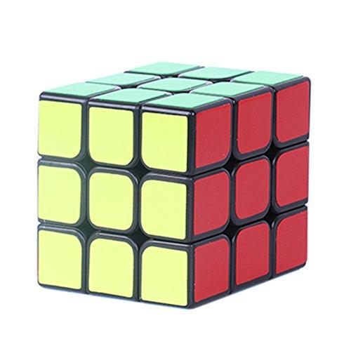 Loxfir Magic Cube, 3 x 3 Stickers Smooth Speed Cube with Timer, Brain Teaser Fidget Cube Toy Black