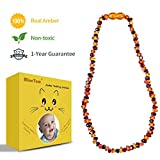 Moonflor Baltic Amber Teething Necklace for Baby, Natural Teething Pain Relief for Babies Drooling & Fussiness Reduce (Cherry+Honey)