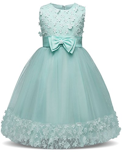 TTYAOVO Girl Princess Flower Bowknot Lace Baby Girls Wedding Christmas Party Dress Size 4-5 Years (Dresses For Girls Christmas)