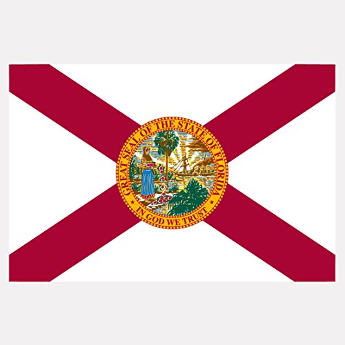 Florida State Flag Reflective Decal - Five Inch Wide Full Color Decal, Sticker, for Indoor or Outdoor Use - Full Color Decal On 3M Reflective Material, - Fort In Florida Stores Lauderdale