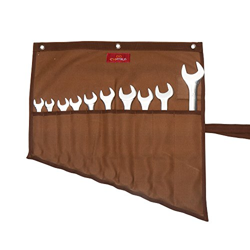 Eximius Ex 0102 Wrench/Tool Roll 10 Pockets of 100% Dyed Cinnamon Brown 15 Oz Cotton Canvas by EXIMIUS