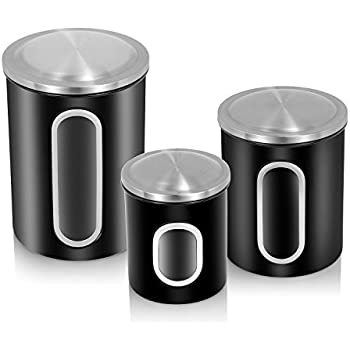 Fc Airtight Window Kitchen Canister Stainless Steel Canisters Sets With Fingerprint Resistance Lid Set Of 3 Black