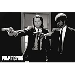 Pyramid America Pulp Fiction Duo Guns Vincent and Jules John Travolta and Samuel L. Jackson Poster, 24 by 36-Inch
