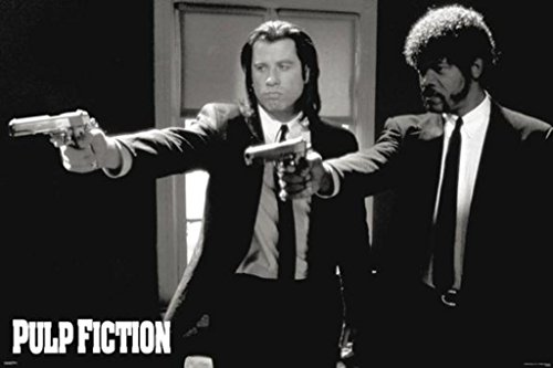 Pyramid America Pulp Fiction Duo Guns Vincent And Jules John Travolta And Samuel L  Jackson Poster  24 By 36 Inch