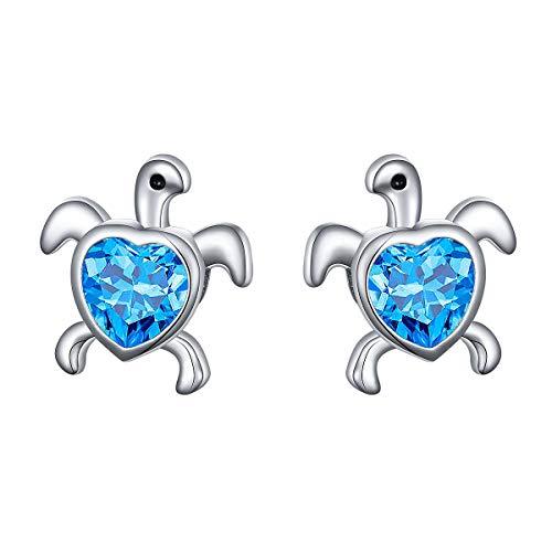 Silver Sea Turtle Earrings - Ladytree Sterling Silver Sea Turtle Animal Earrings Blue Cubic Zirconia Studs Gifts for Women Girl Mother